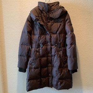 DKNY, chocolate down blend hooded parka, size S